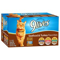 9Lives Seafood & Turkey Favorites Wet Cat Food Variety Pack, 5.5-Ounce Cans (Pack of 24)