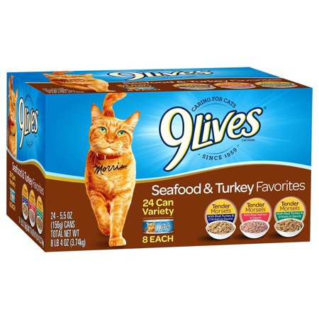 9Lives Seafood & Turkey Favorites Wet Cat Food Variety Pack, 5.5-Ounce Cans (Pack of