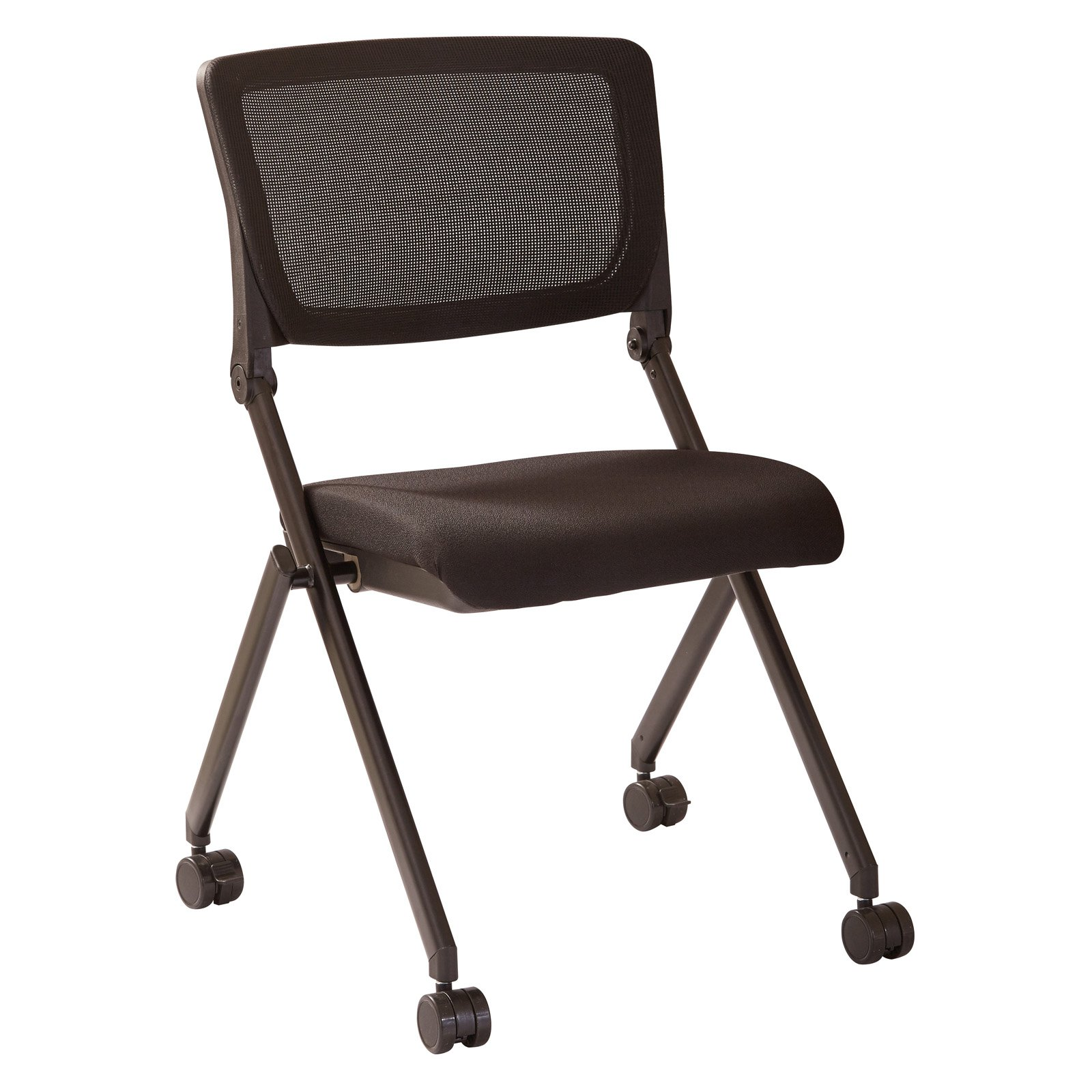 Nesting Chair in Black Mesh, 2pk, with Black Frame and Black Icon Fabric Seat
