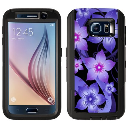 (SKIN DECAL FOR Otterbox Defender Samsung Galaxy S6 Case - Purple Dahlia Flowers on Black DECAL, NOT A CASE)