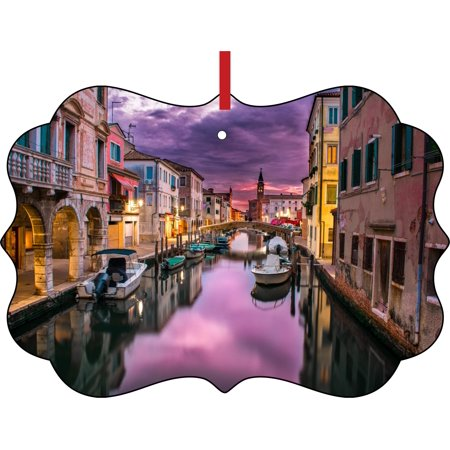 Venice Italy Scenery Purple Sunset Double Sided Elegant Aluminum Glossy Christmas Ornament Tree Decoration - Unique Modern Novelty Tree Décor - Sunset Novelties Website
