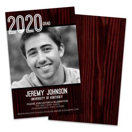 Personalized Woodgrain Photo Graduation Invitation