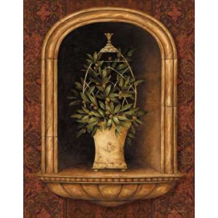 Olive Topiary Niches I Poster Print by Pamela Gladding