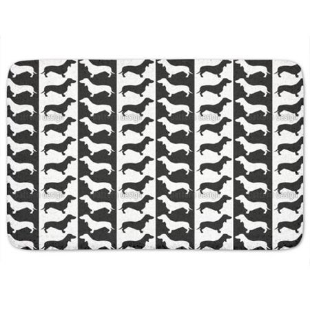 Uneekee Dachshund Black And White Bath Mat