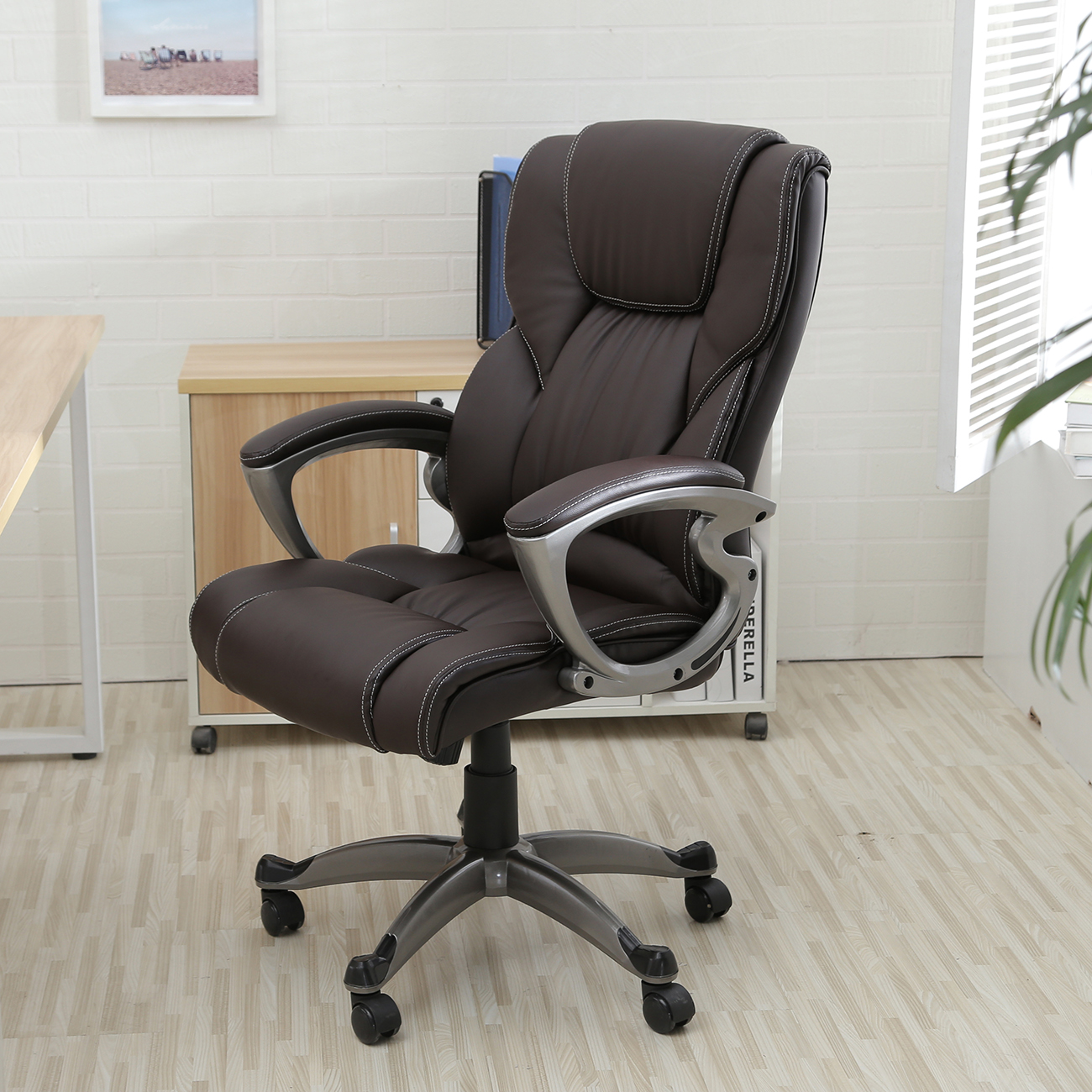 Belleze High Back Executive Faux Leather Office Chair Computer Adjustable Height Tilt, Brown