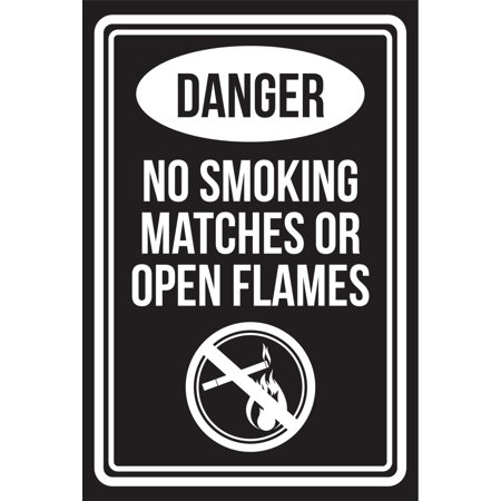 Match Com Commercial (Danger No Smoking Matches Or Open Flames Black and White Business Commercial Safety Warning Large Sign, 12x18 )