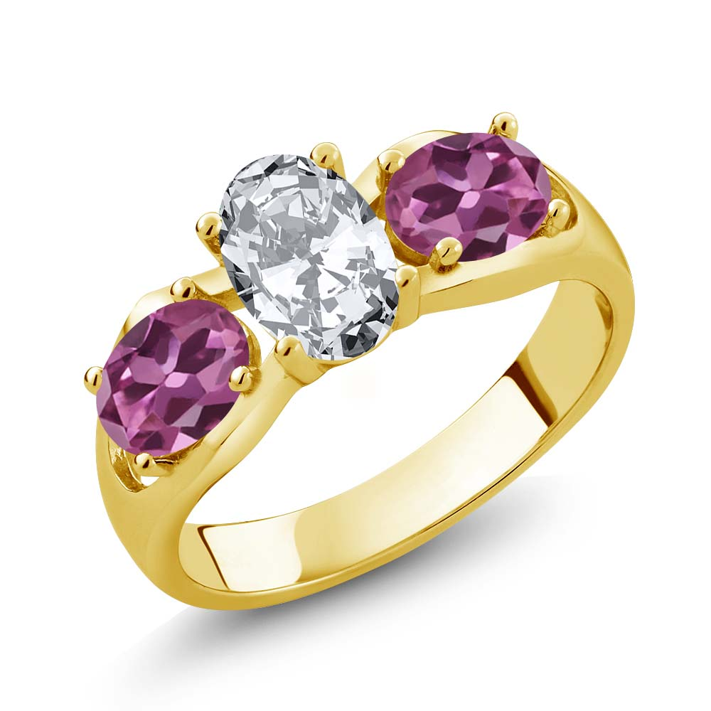 2.50 Ct Oval White Zirconia Pink Tourmaline 18K Yellow Gold Ring by