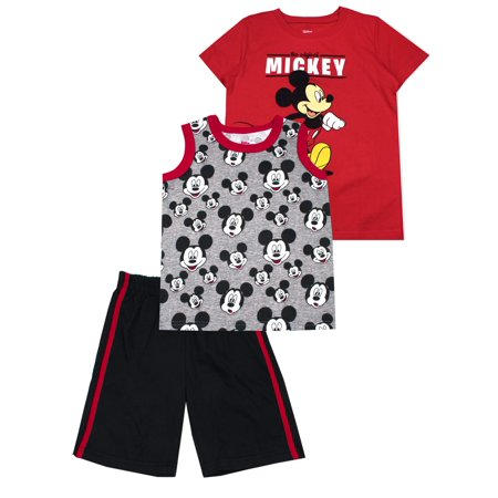 Mickey Mouse Muscle Tank, Tee, and Shorts, 3-Piece Outfit Set (Little Boys) - Mickey Mouse Outfit