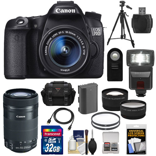 Canon EOS 70D Digital SLR Camera & EF-S 18-55mm IS with 55-250mm IS STM Lens + 32GB Card + Battery + Case + Tripod + Filters + Flash + Telephoto & Wide-Angle Lenses + Accessory Kit