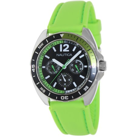 Nautica Men's Sport Ring A09912G Green Silicone Japanese Quartz Fashion Watch