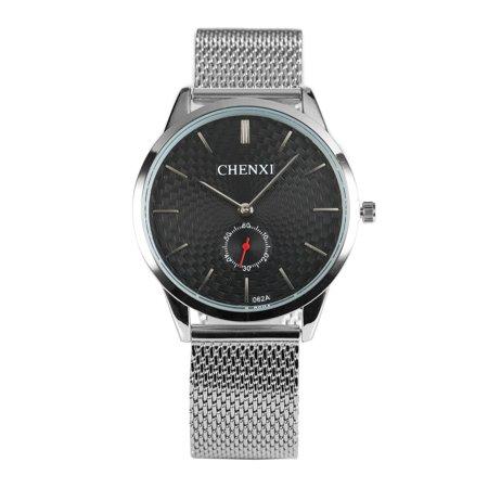 CHENXI Black Dial Mens Quartz Watch Man Silver Stainless Steel Case Simple