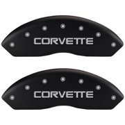 Set of 4 MGP Caliper Covers, 13012Scv4Mb, Engraved Front and Rear: C4/Corvette, Matte Black Powder Coat Finish, Silver Characters