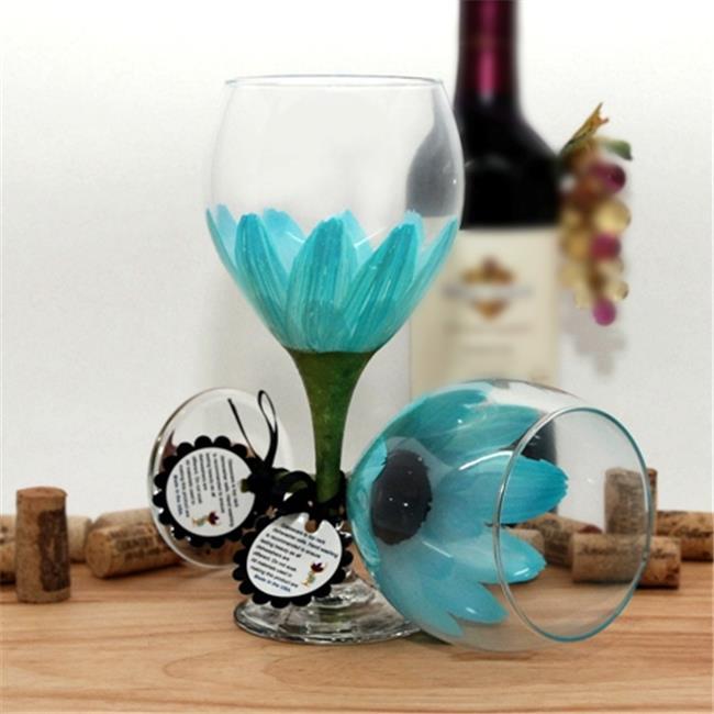 Judi Painted it DA-LI Daisy Painted Wine Glass, Lime