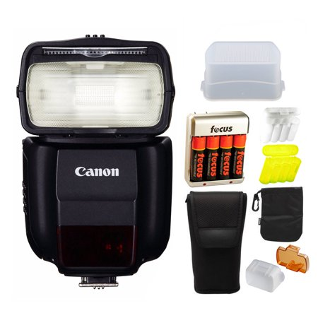Canon Compact Speedlite 430EX III-RT On Camera Flash w/ Dome Diffuser & Focus Battery w/ Charger Bundle