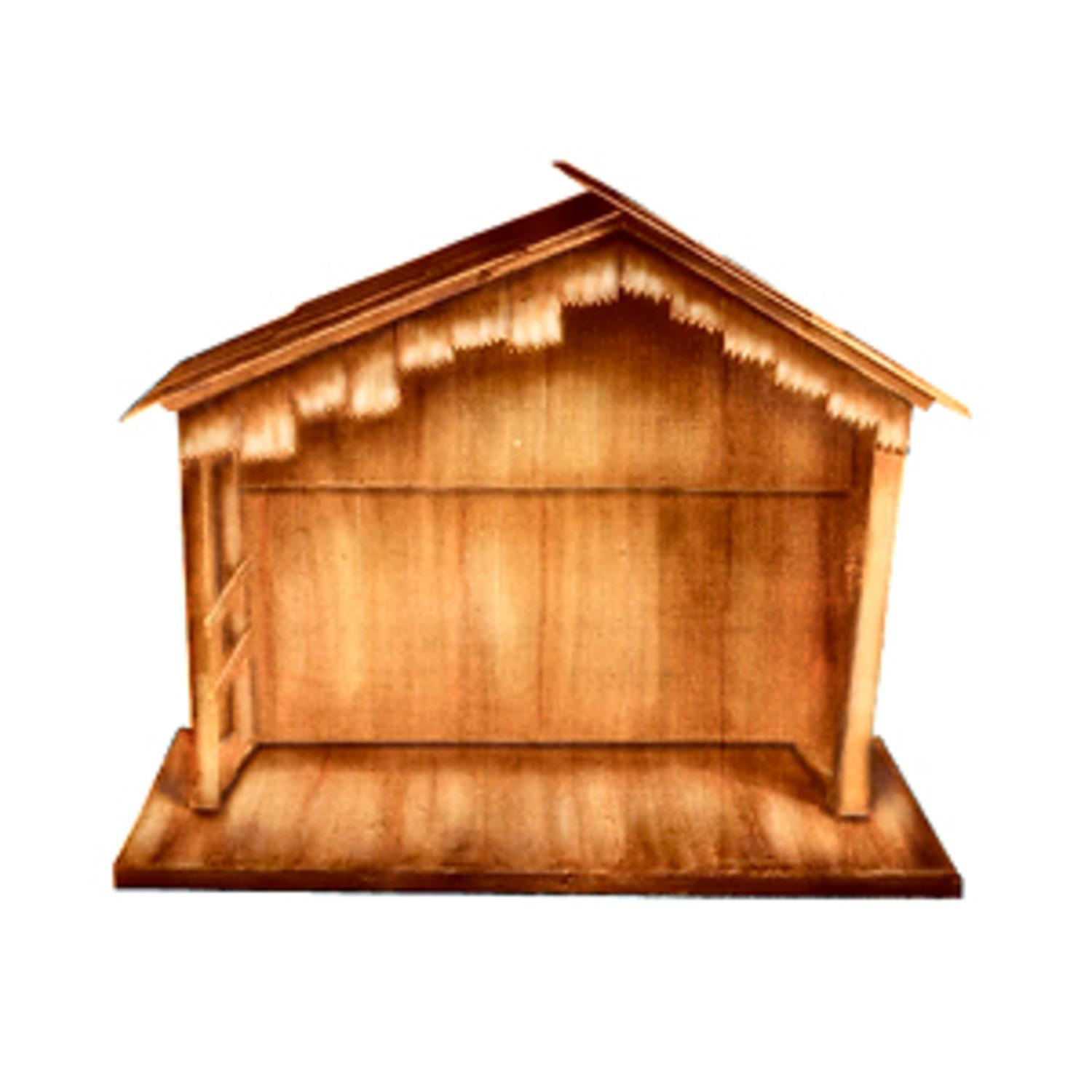 "74"" Large Wooden Outdoor Religious Nativity Stable Christmas Yard Art Decoration"