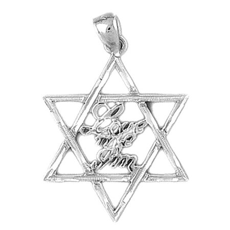 Love Star Of David Pendant - 18K White Gold Love Me I'm Jewish Star of David Pendant - 31 mm