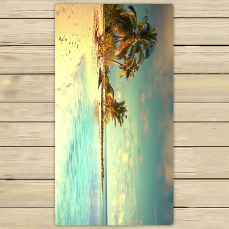 PHFZK Ocean theme Towel, Beautiful Maldives Beach with Palms and Blue Sea Hand Towel Bath Bathroom Shower Towels Beach Towel 30x56 inches (Theme Beach)