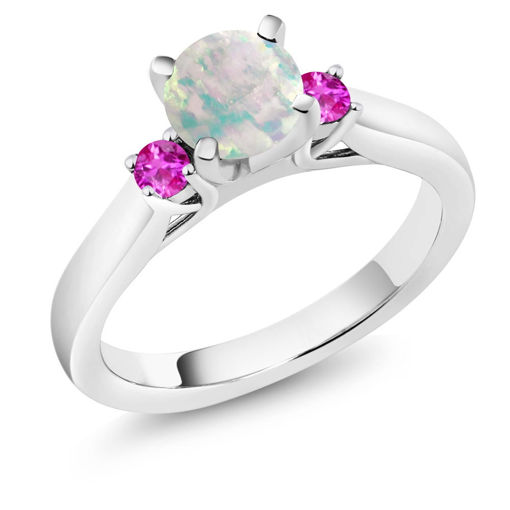 0.56 Ct Cabochon White Simulated Opal Pink Sapphire 925 Silver 3-Stone Ring by