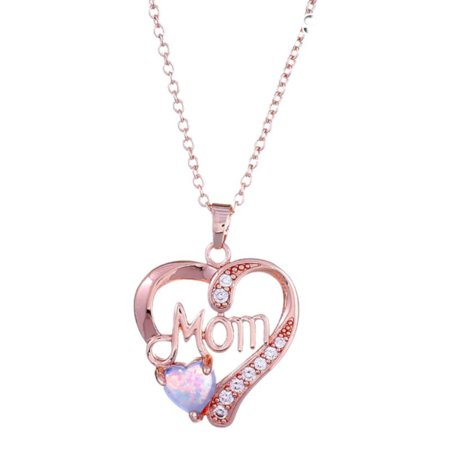 Mom Rose Gold Crystal Stone Anti-Tarnish Simulated Blue Opal Heart Stone Necklace (Jewelry Simulated Stone)