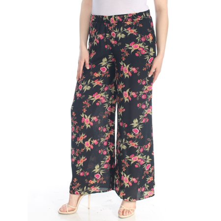 HIPPIE ROSE Womens Black Floral Wide Leg Wear To Work Pants  Size: