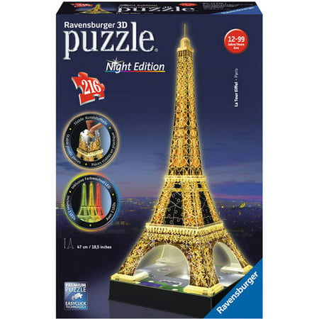 3D Puzzle: Eiffel Tower: Night Edition Puzzle, 216 Pieces