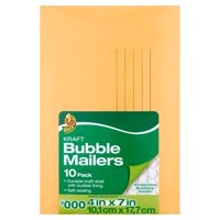 Duck Kraft Bubble Mailers, #000 (4 in. x 7 in.), Self-Sealing, 10-Count
