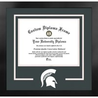 Michigan State Spartans 9.5w x 7.5h Spirit Diploma Nova Black Frame with Bonus Campus Images Lithograph (value savings $59)