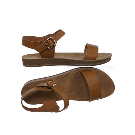 5fb975fc5e8 Marmie12 by Bamboo, Rubber Open Toe Ankle Strap Sandal - Women Comfort Soft  Flexible Flats