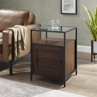 Burke Modern Glass Top Fluted Door End Table by Manor Park