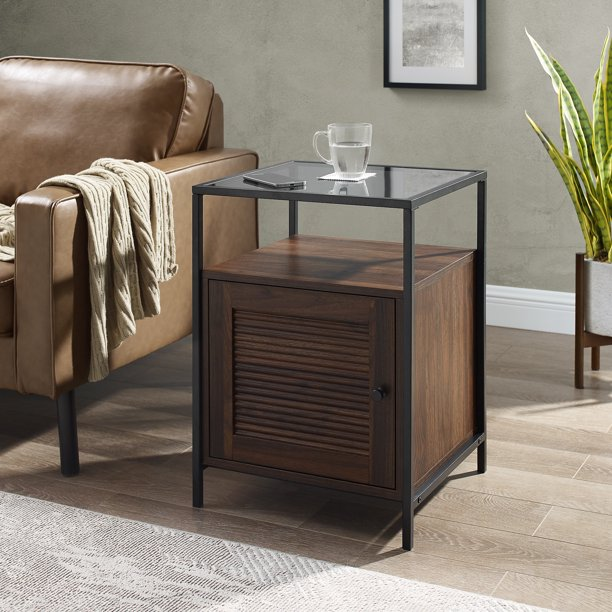 Burke Modern Glass Top Fluted Door Dark Walnut End Table by Manor Park