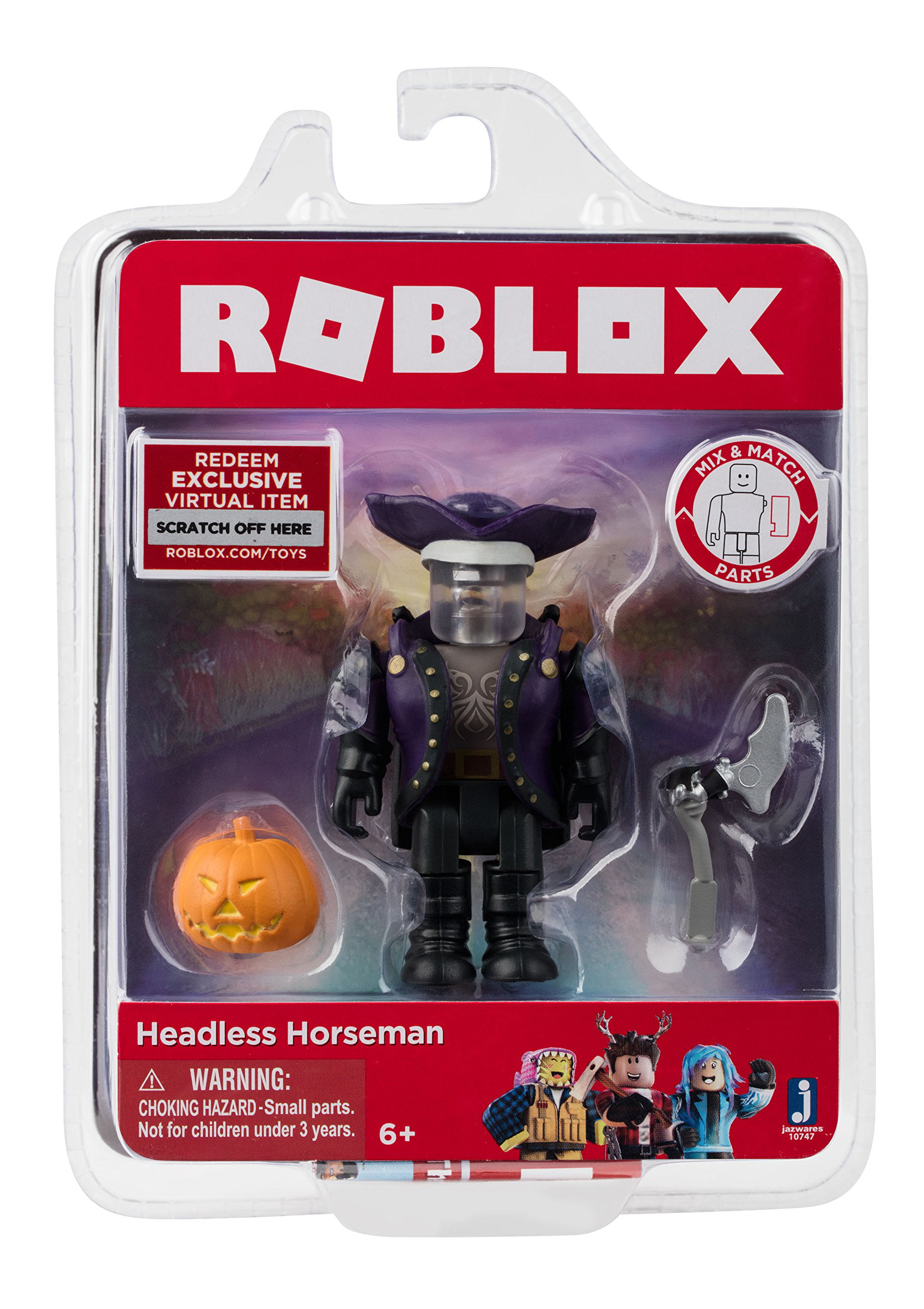 The Headless Head In Roblox Roblox Action Collection Headless Horseman Figure Pack Includes Exclusive Virtual Item Walmart Com Walmart Com