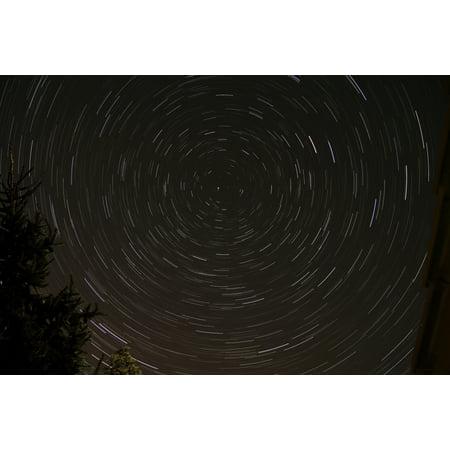 Star Trails around Polaris in the constellation Ursa Minor Canvas Art - Rolf GeissingerStocktrek Images (17 x 12)