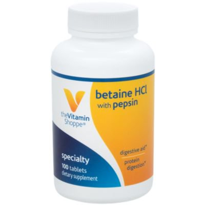 The Vitamin Shoppe Betaine HCL with Pepsin 600MG, To Support Digestion  Absorption of Nutrients (100