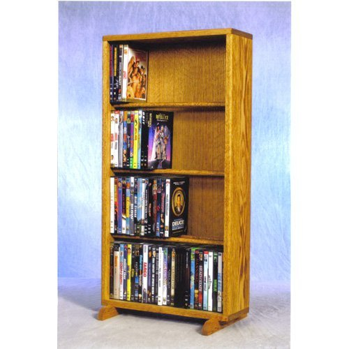 The Wood Shed Solid Oak 4 Row Dowel CD \/ DVD Combination Media Rack - 18 in. Wide