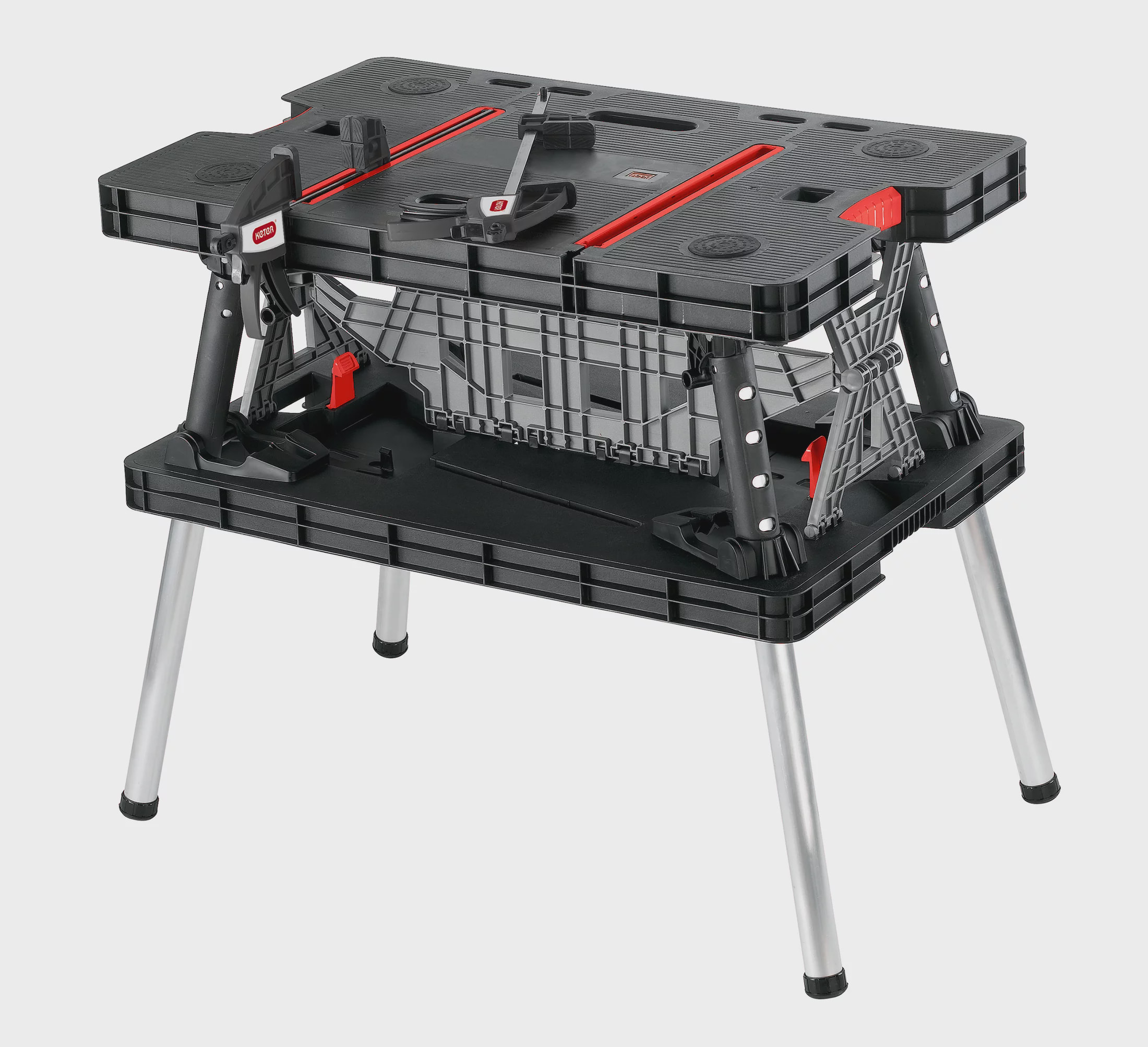 Keter Folding Worktable, Adjustable Resin Work Bench with Clamps, Black by Keter