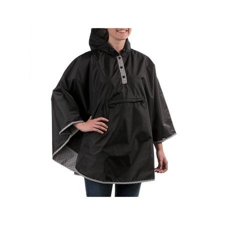 Women's Reversible Rain Poncho, Black