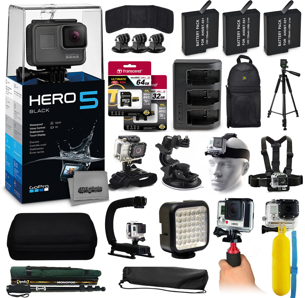 Buy GoPro HERO5 Black CHDHX-501 with 96GB Memory + 3x Batteries + Travel Charger + Backpack + 60? Tripod + Head Chest Strap... by GoPro