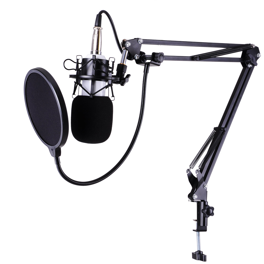 BM-700 Studio Recording Condenser Microphone & NB-35 Adjustable Arm Stand & Shock Mount & Pop Filter - Walmart.com