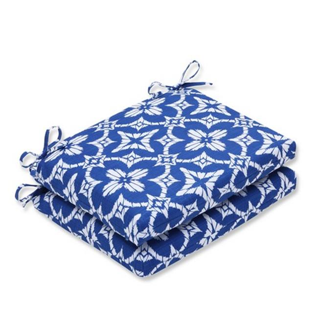 Pillow Perfect 586298 Indoor-Outdoor Aspidoras Cobalt Squared Corners Seat Cushion, Blue - Set of 2