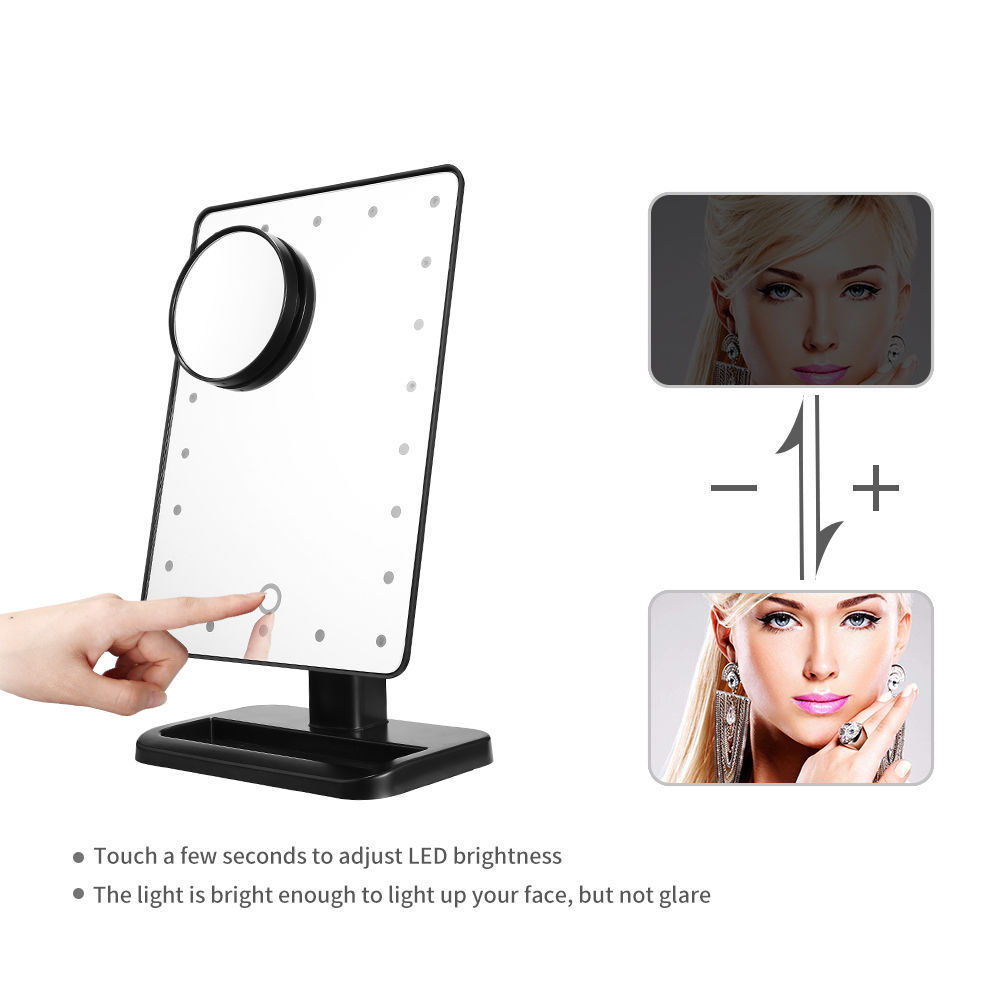 22 Led Removable 10x Magnifying Mirror Ouch Screen Lighted