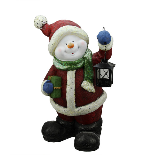 Northlight Seasonal Festive Glitter Snowman with Lantern Christmas Table Top Decoration