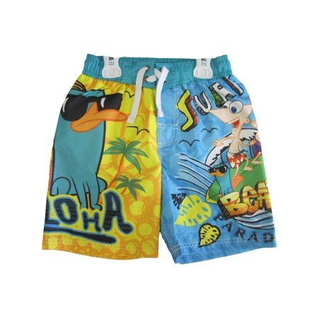 Phineas and Ferb Little Boys Yellow Sky Blue Printed Swim Wear Shorts 4T (Phineas And Ferb Childrens Halloween Costumes)
