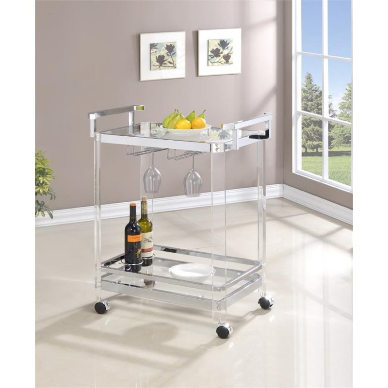 Coaster Company Serving Cart, Chrome and Clear