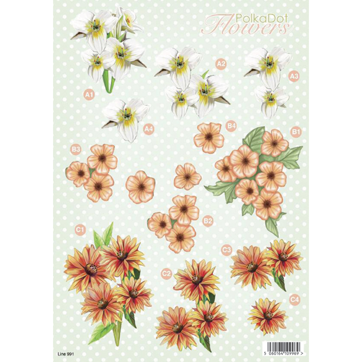 "3D Die-Cut Decoupage Sheet 8.3""X11.69""-Polka Dot Flowers: Trillium & Orange"