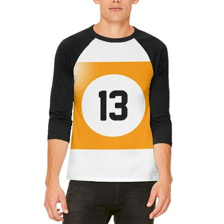 Halloween Billiard Pool Ball Thirteen Costume All Over Mens Raglan T Shirt