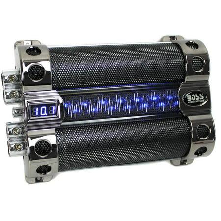 Boss Audio CAP18 18-Farad Capacitor with Digital Voltage Meter, Black Chrome