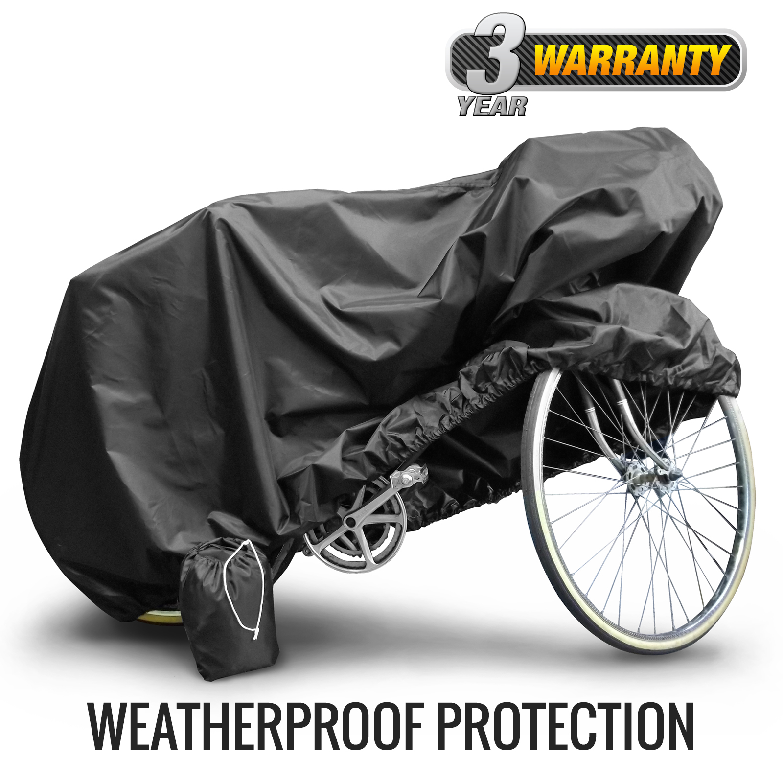 Waterproof Outdoor Bicycle Cover, UV Resistant (Black), Adult Size