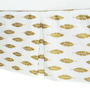 American Baby Company 100% Cotton Tailored Crib Skirt with Pleat, Sparkle Gold Leaves, for Boys and Girls