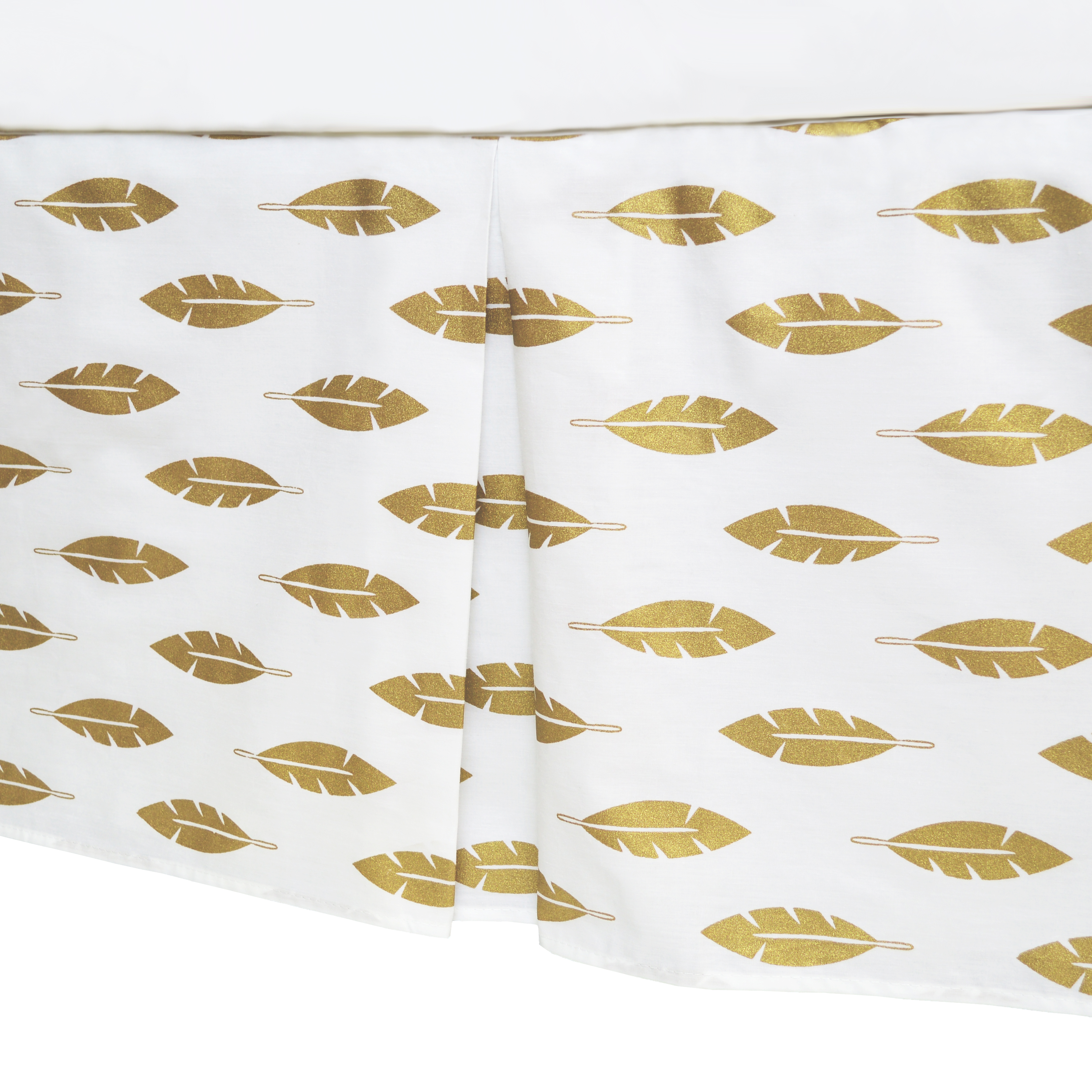 American Baby Company 100% Cotton Tailored Crib Skirt with Pleat; Sparkle Gold Leaves