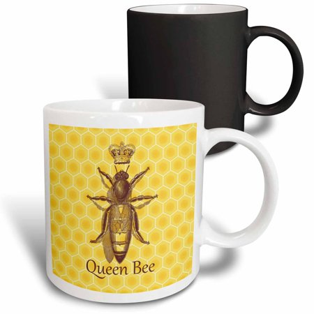 3dRose Stately Queen Bee with Royal Crown over Yellow Honeycomb - Magic Transforming Mug, 11-ounce